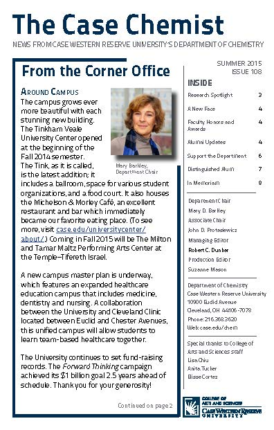 The Case Chemist newsletter fall 2015 cover image