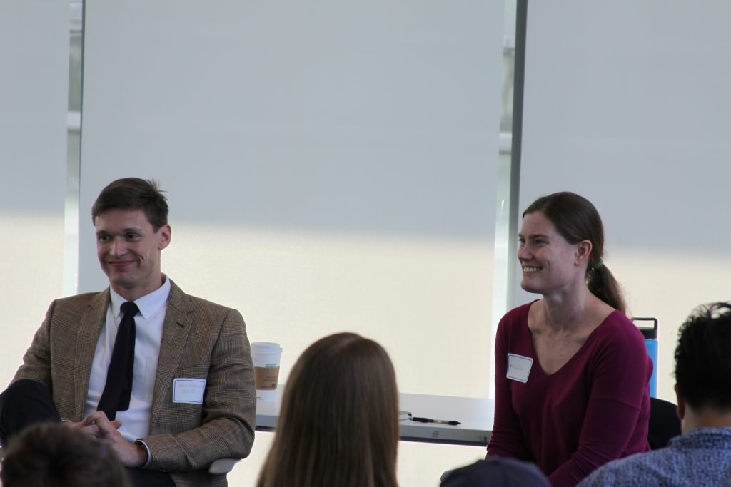 International Studies alumni Meredith Stakem '03 and Davis Wilkinson '12 speaking at the Career Workshop