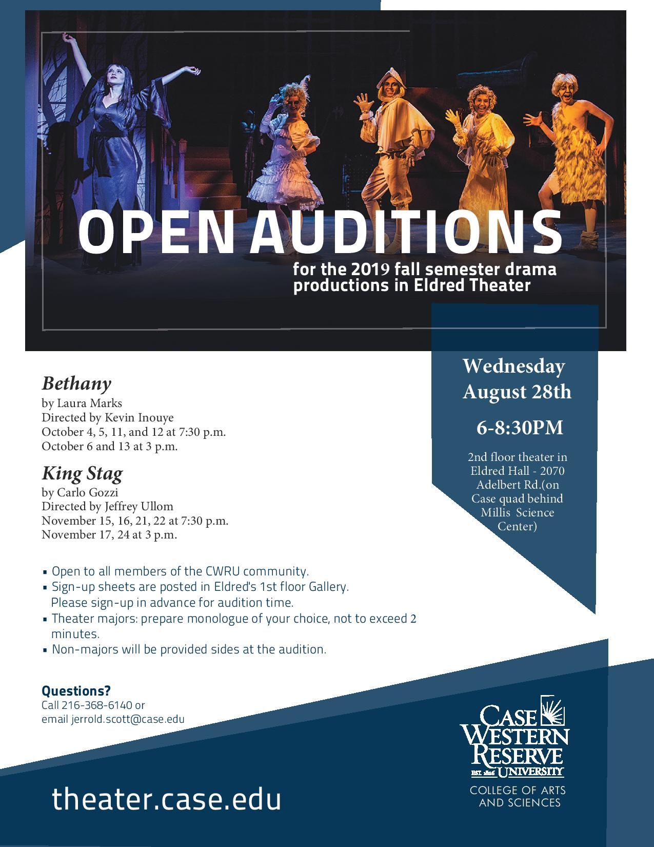 Open Auditions for Fall Productions - Department of Theater